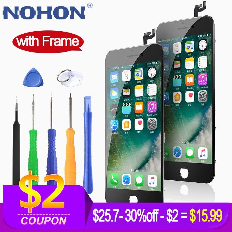 Nohon hd display lcd para iphone 6 s 7 substituição da tela de toque 3d digitador assembléia com quadro aaaa lcds do telefone móvel + ferramentas