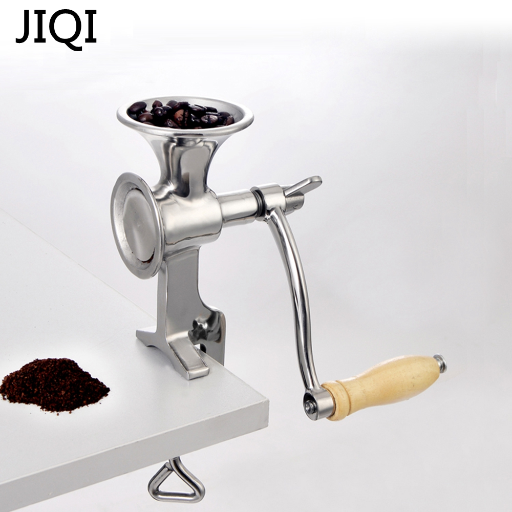 JIQI Household manual Coffee Bean mill Stainless steel manual Coffee Mill stand operation Coffee Grinder Convinent rice soybean цена и фото