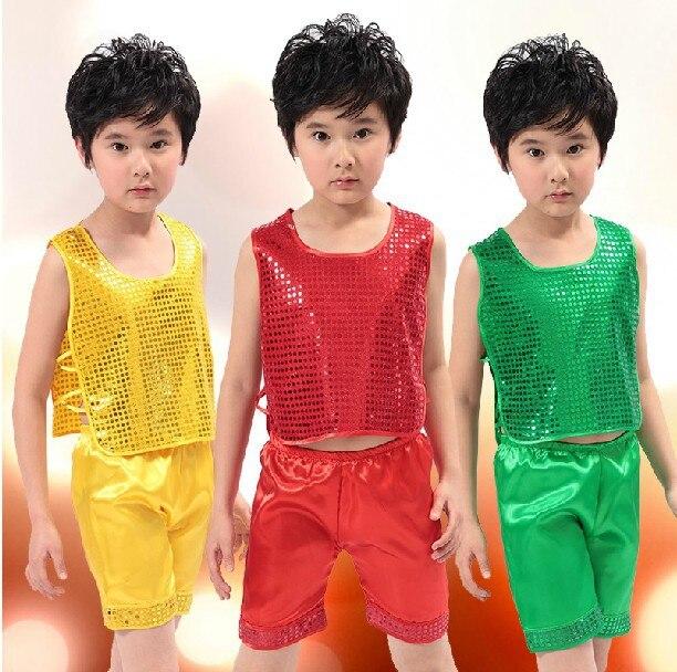 Модные костюмы с жилетом с блестками Детская Одежда для танцев для мальчиков костюмы сценическая одежда 20 компл./лот - Цвет: select color size