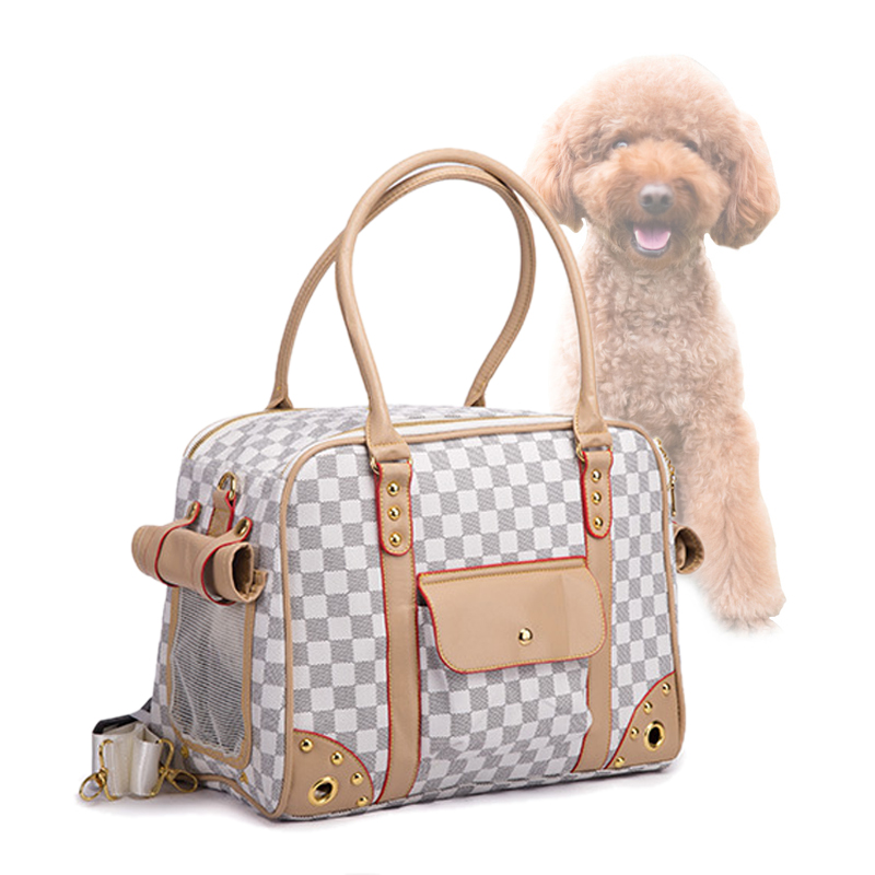 Embossing High End Pet Bag Car Carrying Multifunctional Dog Bag Travel Brand Dog Carrier Dog Bags For Small Dogs Coffee/white