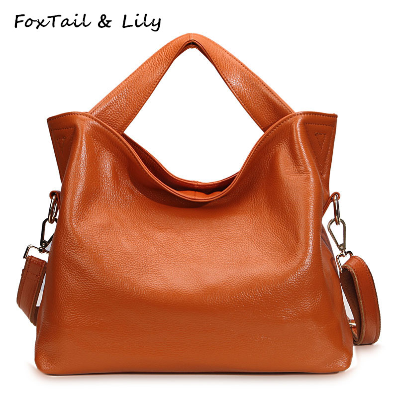 FoxTail & Lily Large Capacity Ladies Genuine Leather Handbags Soft Cow Leather Casual Tote Shoulder Bag Women Messenger Bags foxtail
