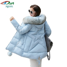 JQNZHNL 2017 Winter Women Basic Down Jackets Plus Size Female Warm Coat Fur Collar Outerwear Back Five Stars Casual Jackets E235