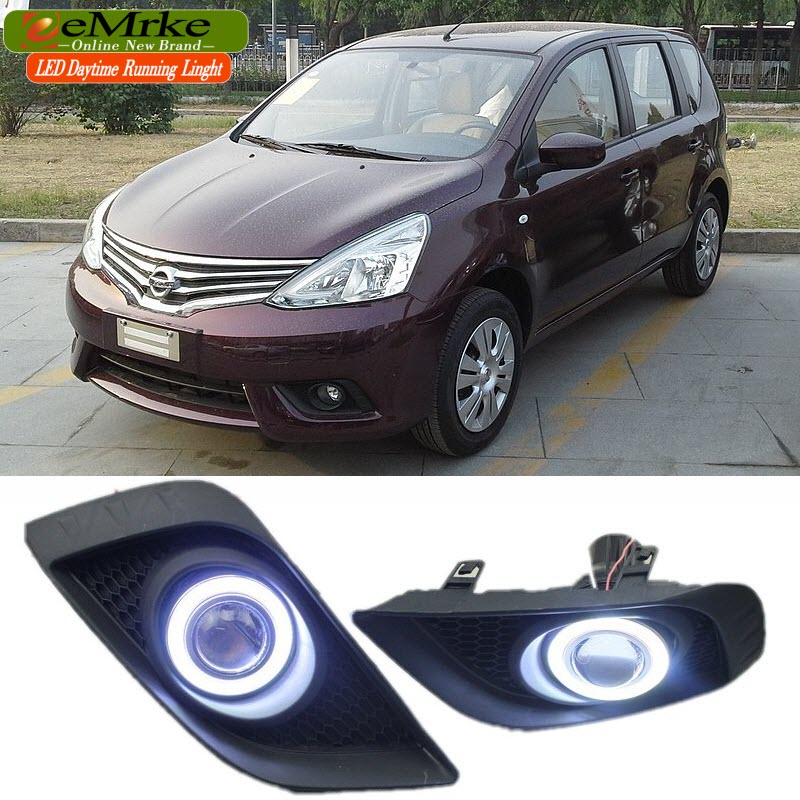2in1 Fog Angel Eyes DRL For Nissan Grand Livina L11 LED Daytime Running Lights Halogen Bulbs H11 55W teana angel eyes led head lights for nissan 2008 11 v4 type