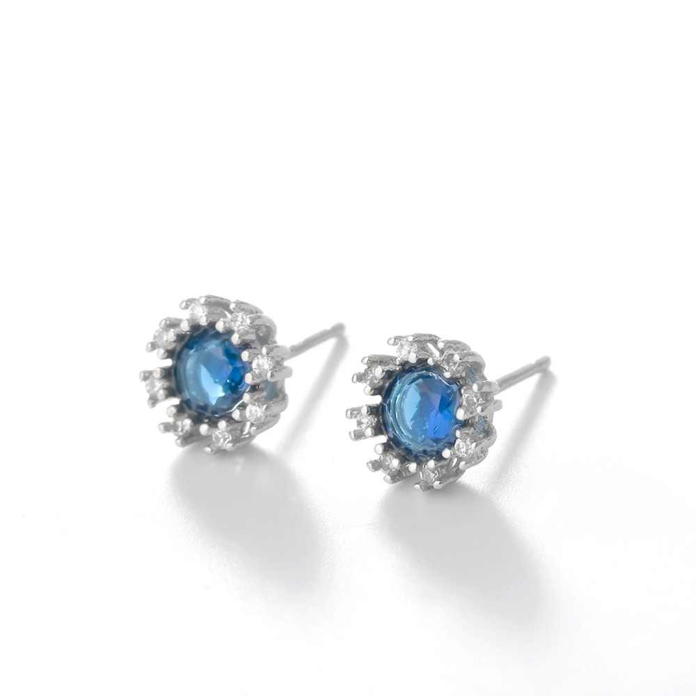 QIMING niebieski austriacki kryształ kolczyki dla kobiet moda biżuteria małe Charm Party ślub prezent srebrny stadniny kolczyki