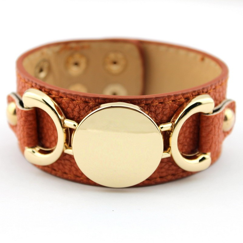 Wholesale Silver & Gold Blank Monogram Leather Wrap Bracelets for Women Fashion Snap Jewelry 27