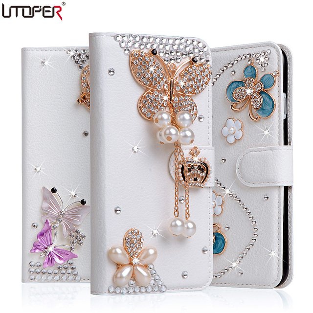 For MotoG4 Luxury Wallet Stand Flip PU Leather Case For Motorola Moto G4 Moto G4 Plus Diamond Handmade Bling Cover Phone Bags