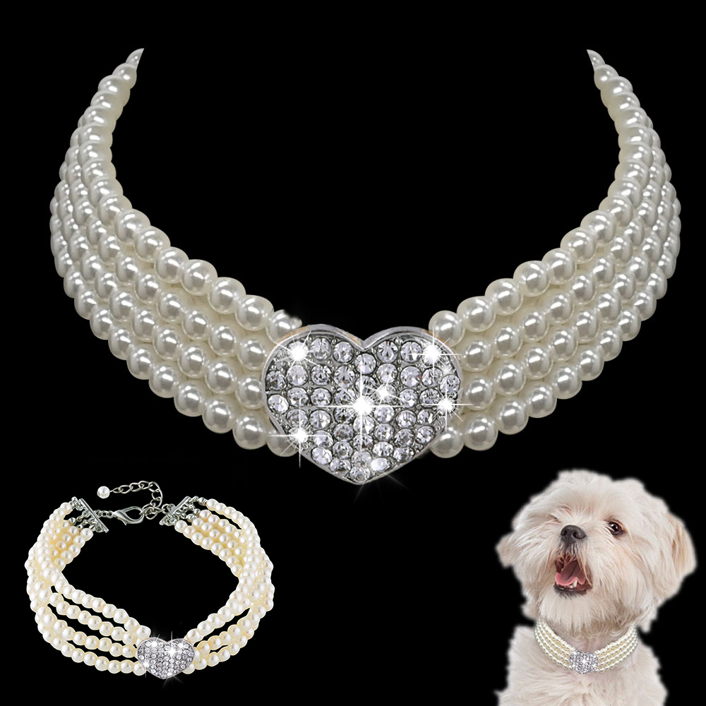 Pearl splice Rhinestone Dog collar pet Products S/M/L 20/25/30CM Suitable for small medium dog Pet accessories collier chien D20