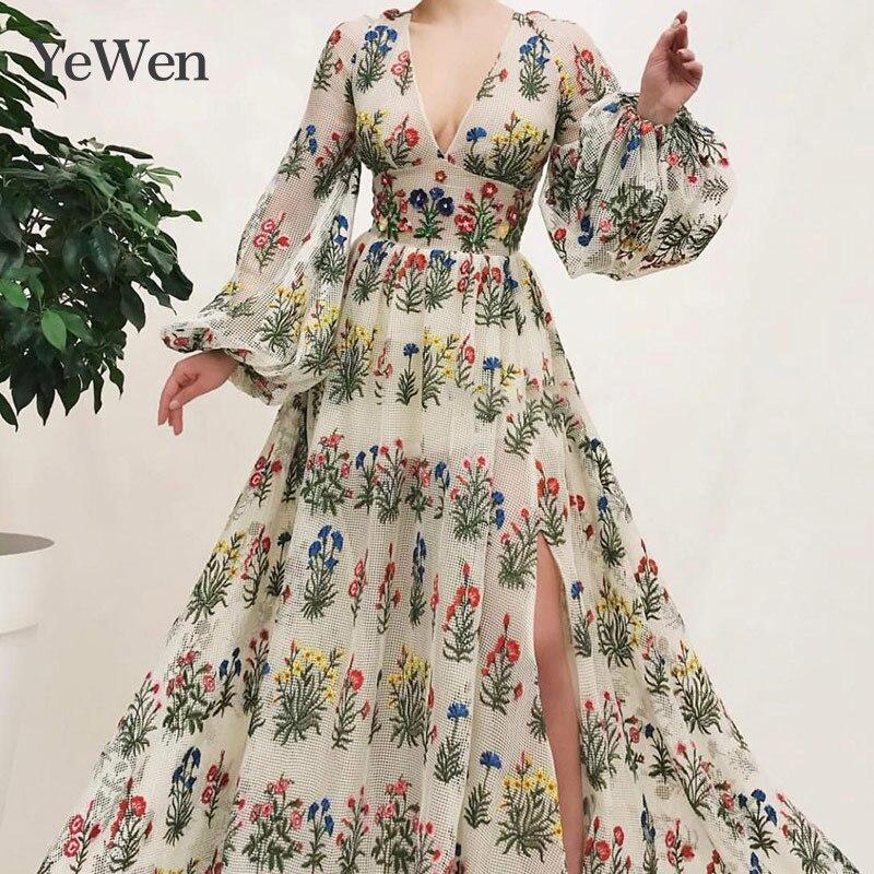 Sexy V-neck   Evening     Dress   High Bifurcate Vestidos De Noche Largos Elegantes De Fiesta 2019 Long Sleeve Gown   Evening     Dress