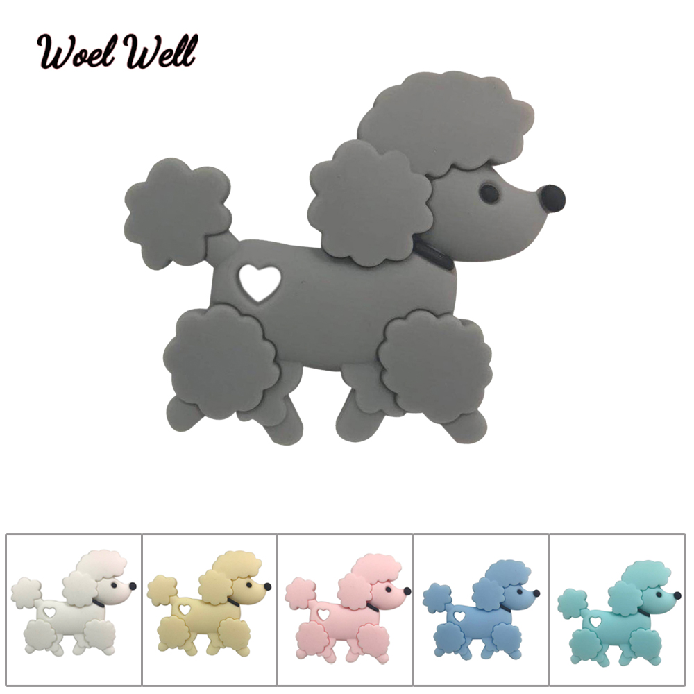 Woel Well 1pcs Teddy Silicone Teether Baby Teething Toy  BPA Free Dog Pendant Nursing Necklace Toddler Toys Chew
