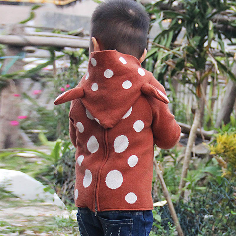 New Baby Deer Ears Sweaters Kids Animal Style Dots Hooded Pullover Long Sleeved Knit Sweaters Children Autumn Tops Cloth