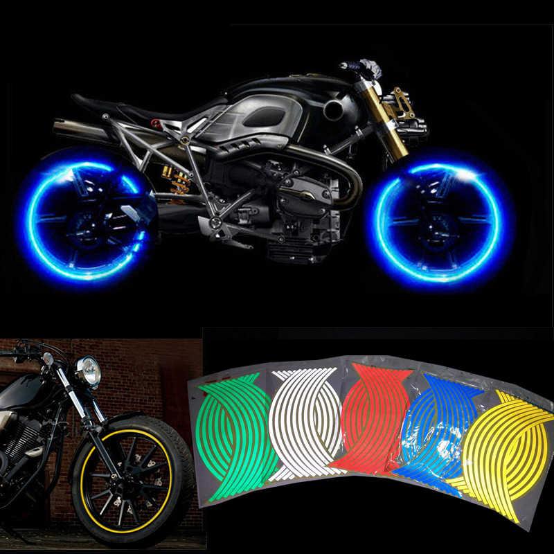 16 Pcs Strips Motorcycle Wheel Sticker Reflective Decals Rim Tape Bike Car Styling For Yamaha Honda Suzuki Harley Bmw 17 18