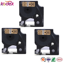 Kodex 3pack 24mm compatible Dymo D1 53723 black on Gold laminated label tape for LabelManager printer