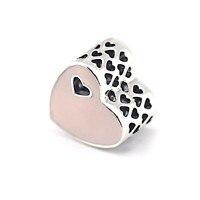 Fl334 Подходит Пандора браслет 925 серебро Бусины сердце серебро очарование с розовый эмаль Мода DIY ювелирные изделия оптом