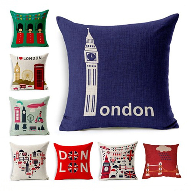 Square Cushion Cover London Scenery Pillowcase Pillow Case For Sofa Home Decor F