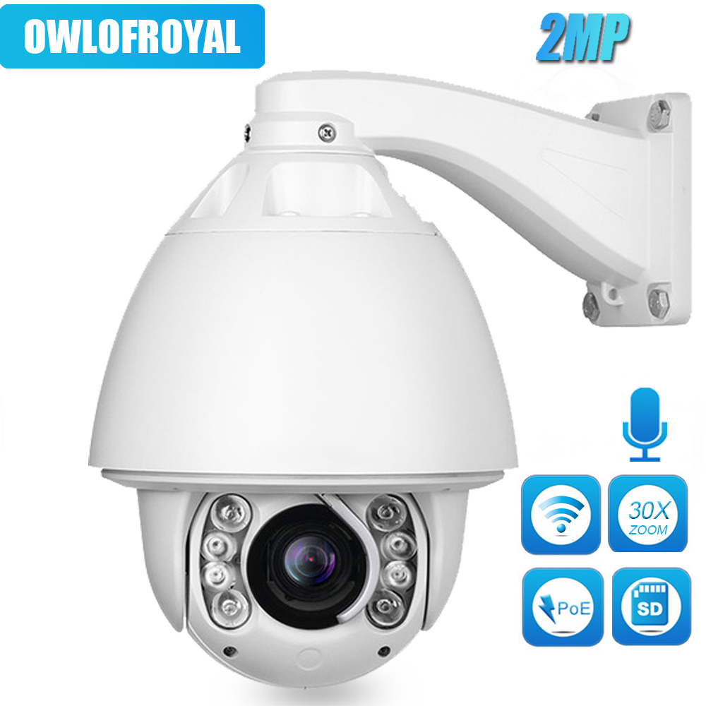 PTZ IP Camera POE 2MP Outdoor Waterproof High Speed 30X Zoom Dome Camera IR-CUT 150m P2P CCTV Security Audio IP Camera Onvif цена
