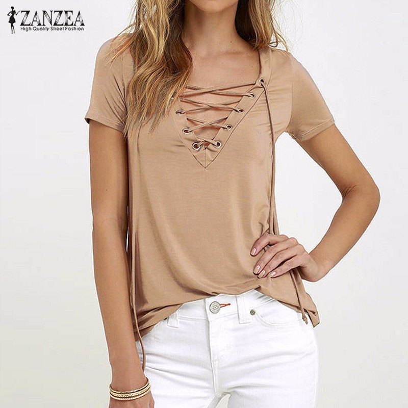 ZANZEA Women 2016 Summer Sexy V Neck Blouses Short Sleeve Casual Hollow Out Lace Up Solid Shirts Plus Size Blusas Tee Tops