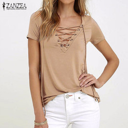 Zanzea women 2017 summer sexy v neck blouses short sleeve casual hollow out lace up solid.jpg 250x250