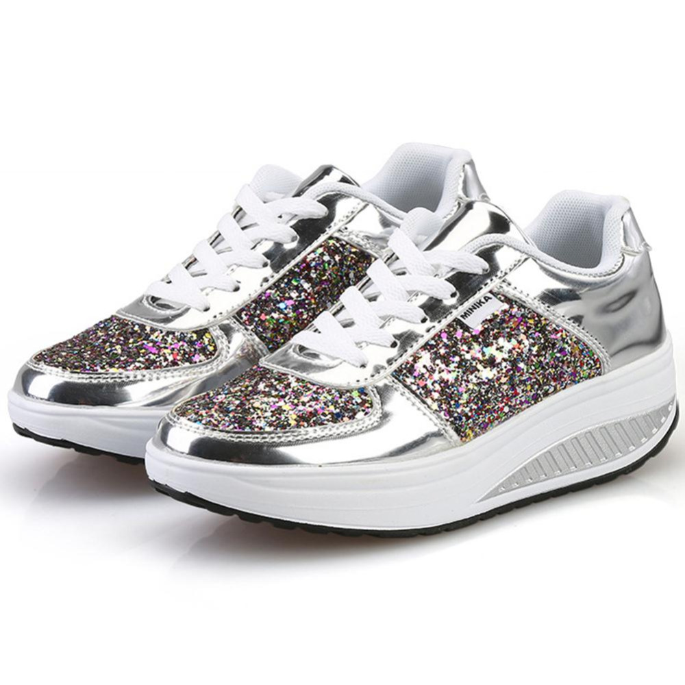 Bling Platform Sneakers Women Shoes Fashion Golden Sequin Waterproof Womens Flat Shoes Spring Autumn Lace Up Casual Shoes Female