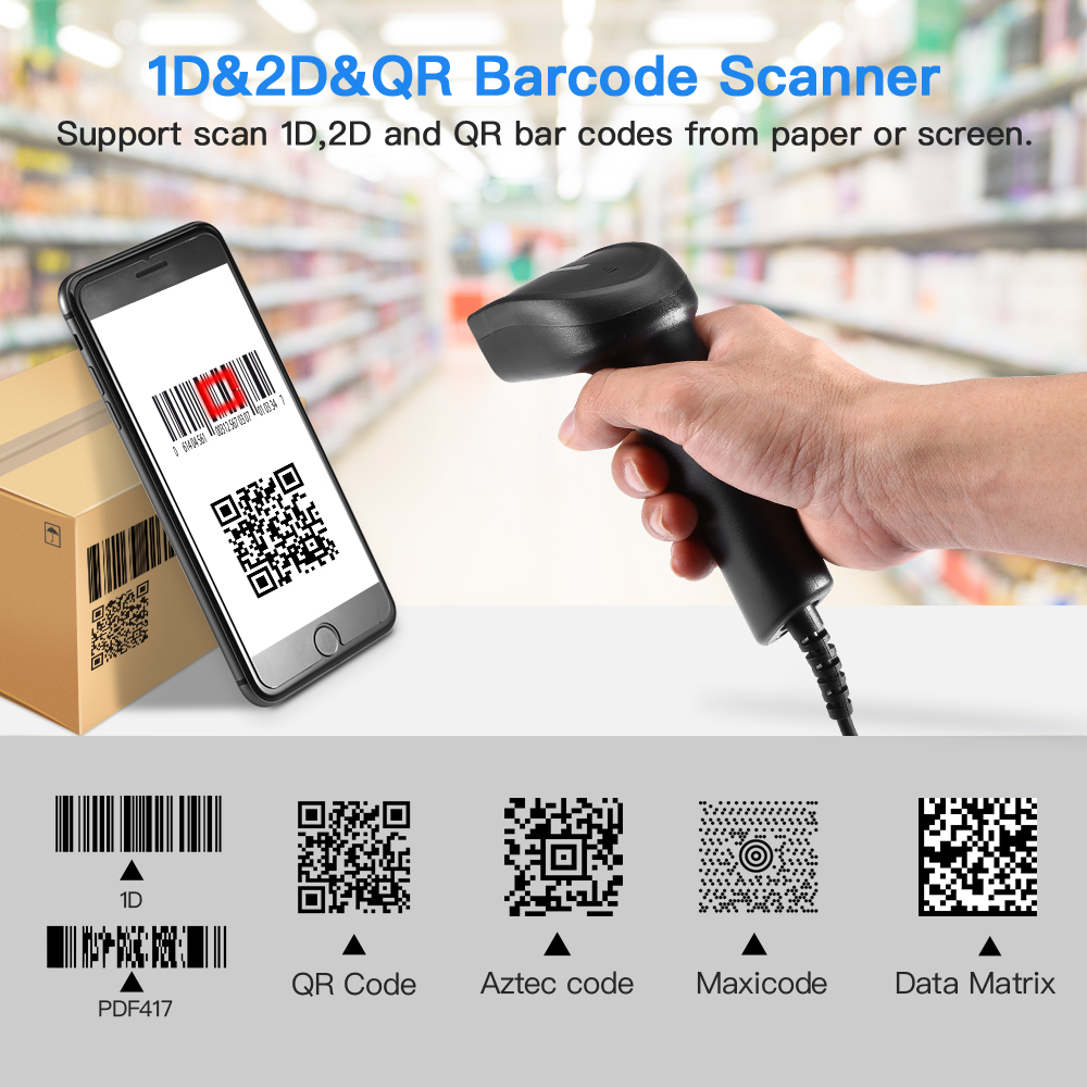 EY-006Y 2D Barcode Scanner Portable Wired 1D 2D USB Bar Code Reader QR Code Scanner For Windows DataMatrix PDF417(China)