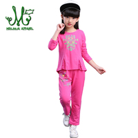 Fashion Girls Floral Clothes o neck 100% Cotton Clothing Set Children's Long Sleeved Sportswear Suit For 4 6 8 10 12 14 Years