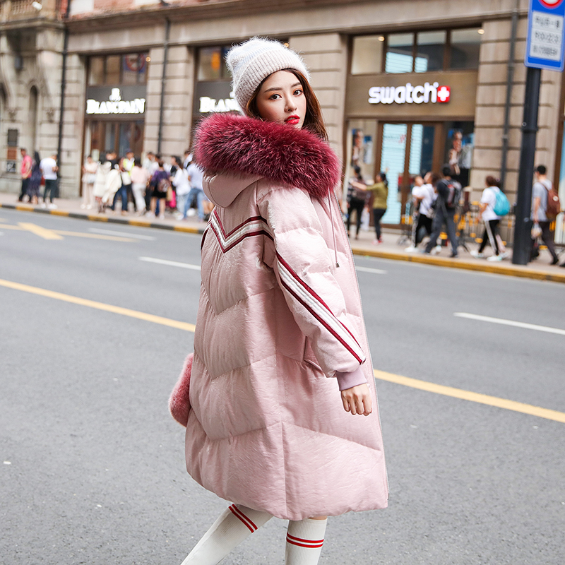 Winter British style glossy velvet fabric real duck   down     coat   female hit color striped fur hooded warm   down     coat   wq719