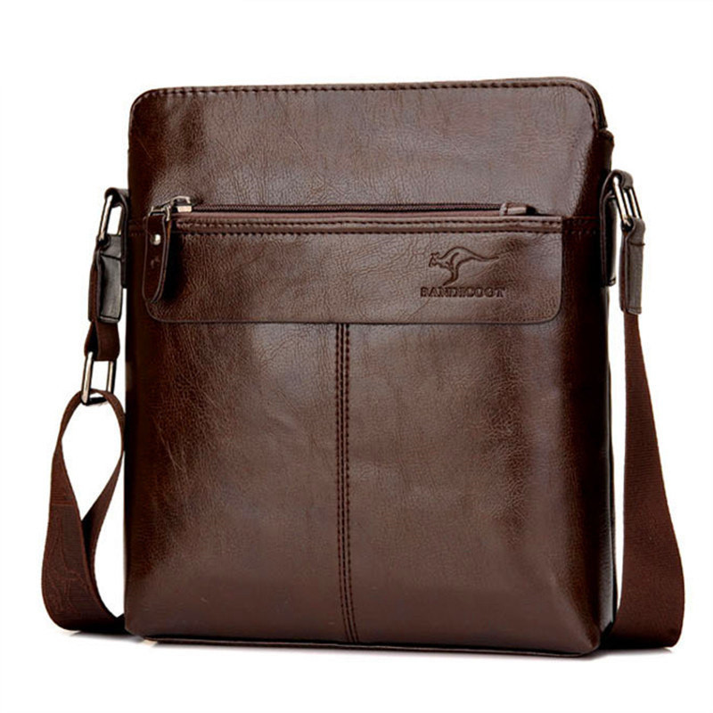 High Quality Kangaroo Brand Crossbody Bags Fshion Leather Men Messenger Bag Male Casual Black Small Men Shoulder Bag Flap high quality casual men bag