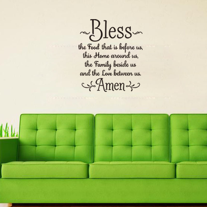 Prayer Wall Decal Bless The Food Before Us,The Family Beside, And The Love Between Us. Amen Bible Vinyl Decal