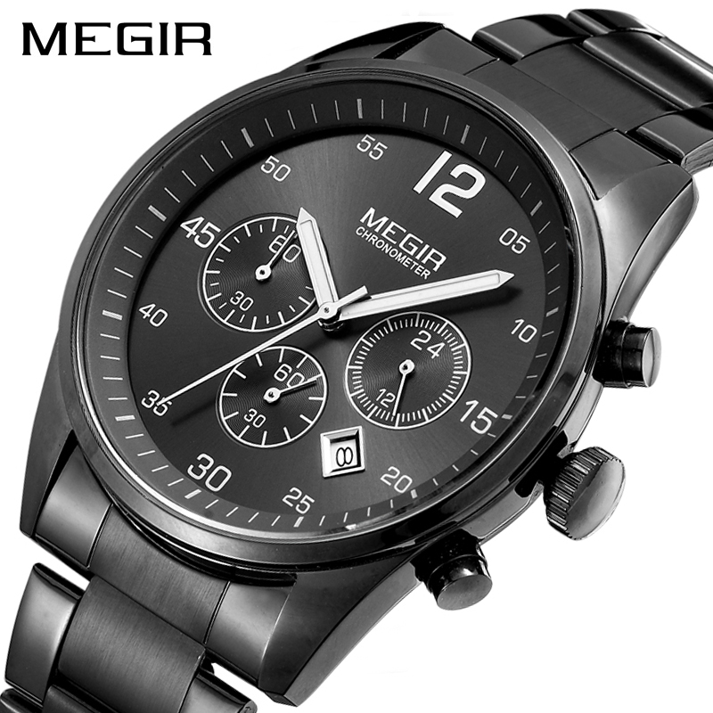 <font><b>MEGIR</b></font> Men's Quartz Watch Black Stainless Steel Chronograph Business Watches Men Military Wrist Watch Erkek Kol Saati image