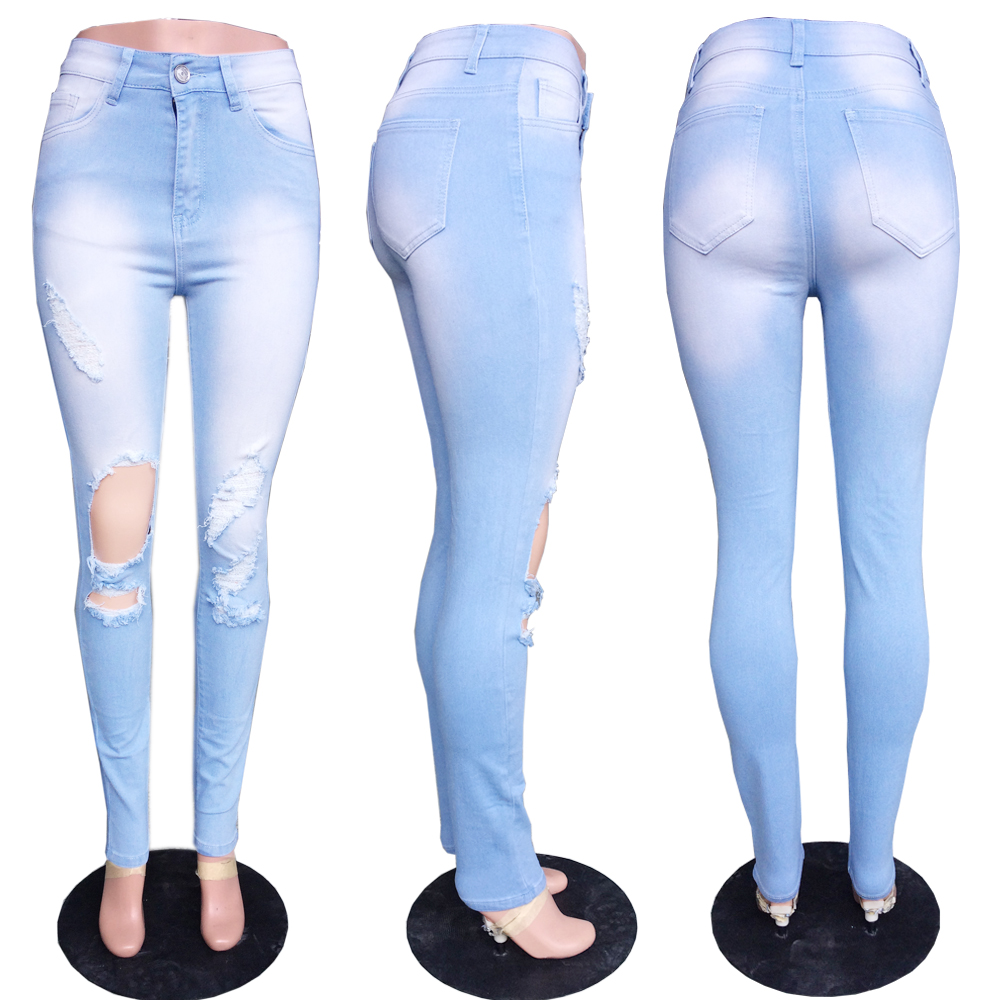 New Ms. Washed White Pants Big Size Jeans Skinny Thin Comfortable Sexy Fringe Elasticity Knees Big Holes Trousers
