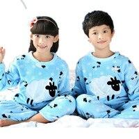 Winter Children Pajamas Sets For Boys Girls Warm Christmas Kids Thermal Flannel Pyjamas Girls Sleepwear