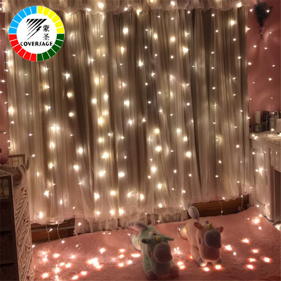 Coversage 3X1M 3x3M Christmas Garlands LED String Christmas Net Lights Fairy Xmas Party Garden Wedding Decoration Curtain Lights