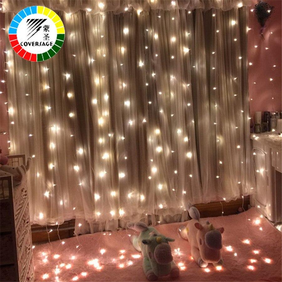 Coversage 3X1 M 3x3 M De Noël Guirlandes Guirlande LED Lumières De Noël Net Fée De Noël Garden Party Décoration de mariage Rideau Lumières