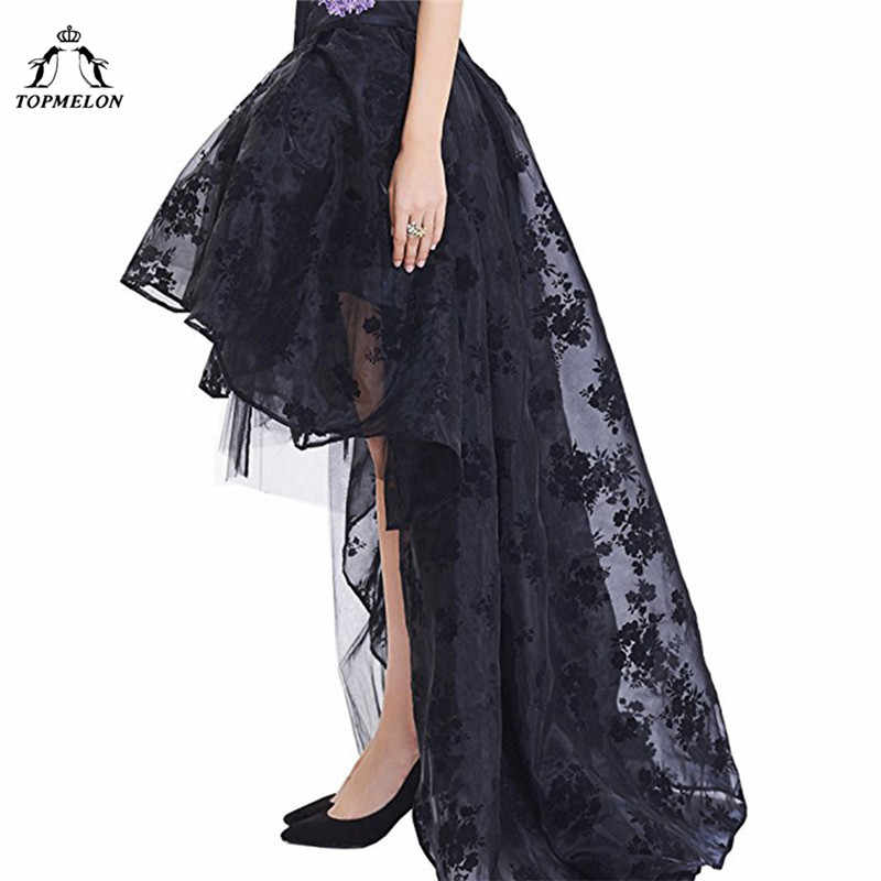 TOPMELON נשים של חצאית נשי גותי טול חצאית Steampunk מקסי תחרה פרחוני כדור שמלת וינטג מראה ריקוד מסיבת מחוך חצאיות