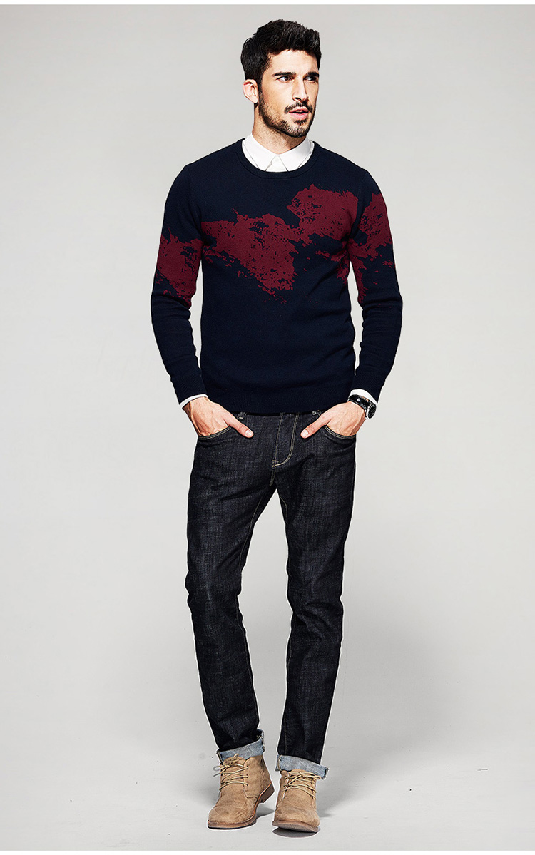 Free shipping new Autumn Fashion Brand Casual Slim Fit Knitting O-neck Sweaters And Pullovers for man 16907 ...