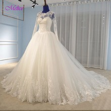 fsuzwel Long Sleeve Wedding Dresses 2019 Chapel Train Gown
