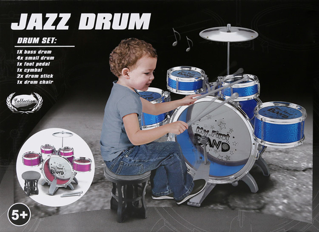 New Big Plus Size Jazz Drum Set With Chair Music Educational Toy Instrument For Kids Children