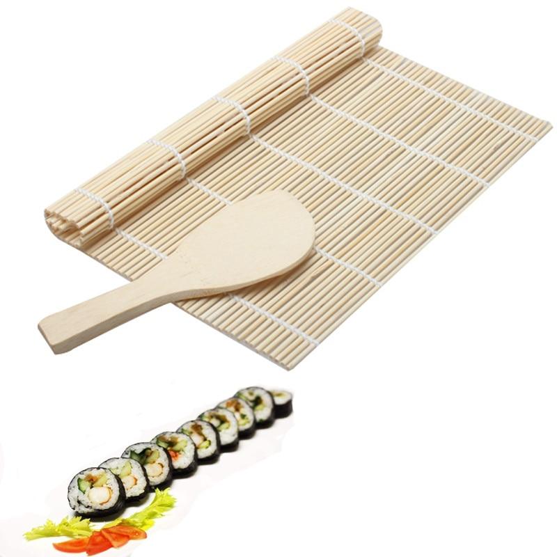 2017 1 Unidades Sushi Rolling Mat Roller Material de bambú Estera Maker DIY Y un arroz Paddle Herramientas de sushi Herramienta de cocina utensilios de cocina