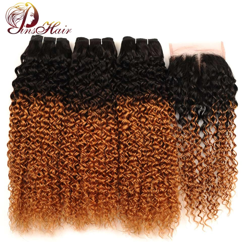 Pinshair 1B/30 Human Hair Bundles With Closure Ombre Blonde Peruvian Afro Kinky Curly Bundles With Closure Non Remy Hair Bundles