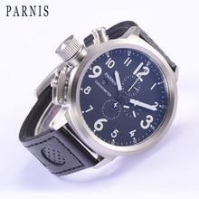 Hot 50mm Brand Parnis Quartz Men's Watch Japan Movement Genuine Leather Chronograph Auto Date Fashion Casual Sports Men Watch