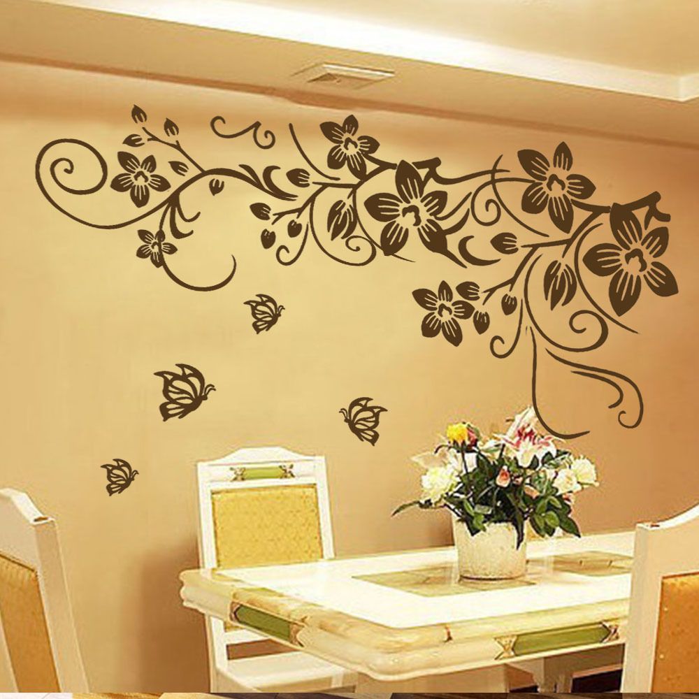 Aliexpress.com : Buy DIY Vine Flower Butterfly Removable Vinyl Wall ...