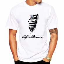 Italy national treasures alfa Romeo t shirt men white Casual Breathable plus size tee shirt homme Italian style tshirt
