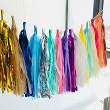 5Pcs/Pack 14inch Tissue Paper Tassels Garland for Wedding Decoration DIY Birthday Party Baby Shower Event Decor Supplies