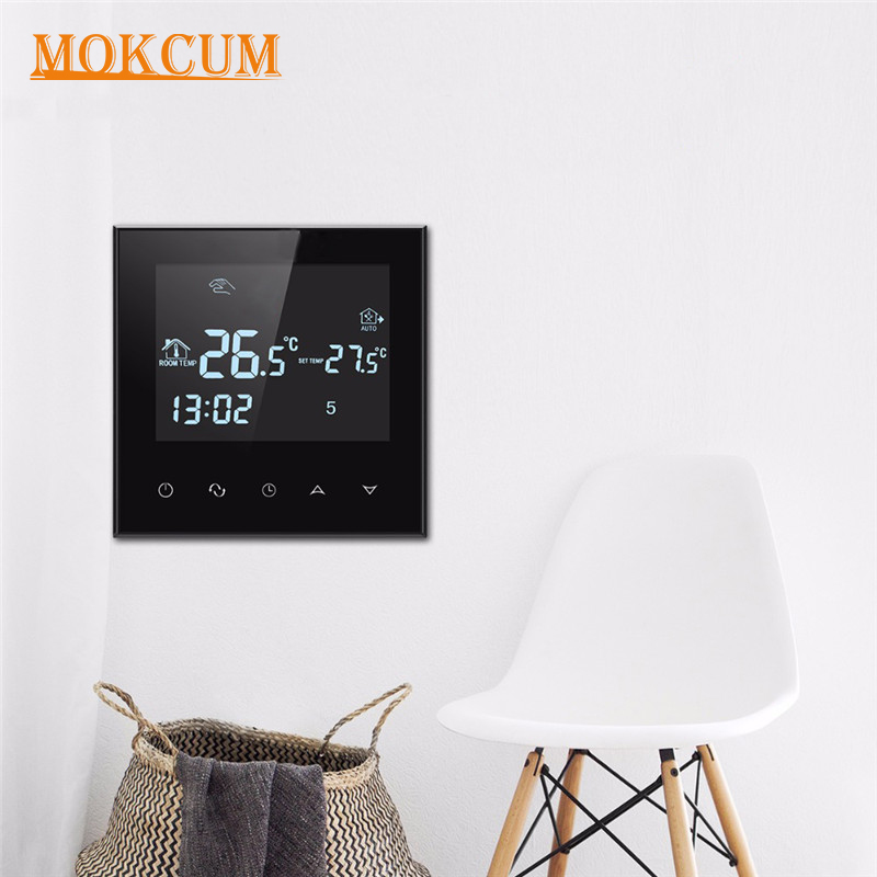 Wifi Thermostat Water Floor Heating Smart Programmable Temperature Controller with LCD Touch Screen Alarm Clock external Sensor acrylic material touch button double sensor thermostat with heating element