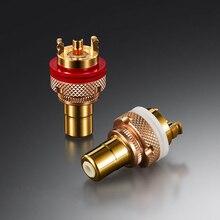 EIZZ conector enchufe adaptador RCA hembra de Latón chapado en oro de 24K de alta gama para Audio, vídeo, TV, CD, AMP, Panel chasis montura