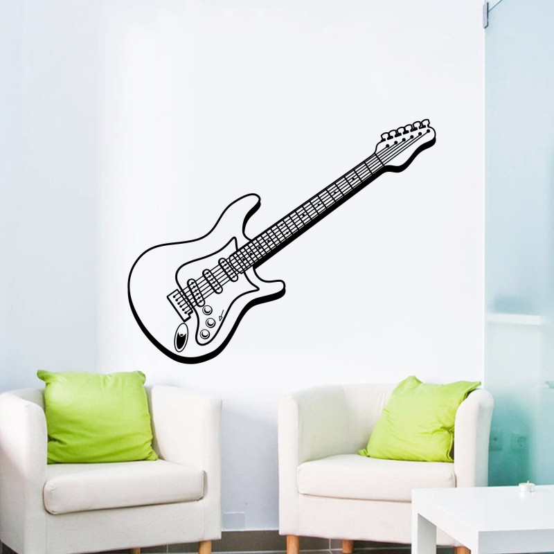Us 5 55 25 Off Music Art Design Wall Sticker Electric Guitar Beautiful Wall Decals Mural Home Bedroom Art Special Decorative Wall Stickers M 48 In