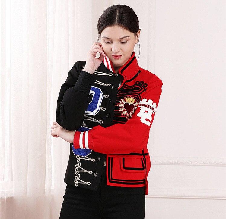 Kadın Giyim'ten Basic Ceketler'de Kadın kış ceket 2018 Pist Mektup Nakış Bombacı beyzbol ceketleri Kadınlar Kırmızı Pamuk Yastıklı ceket sıcak casaco feminino'da  Grup 2