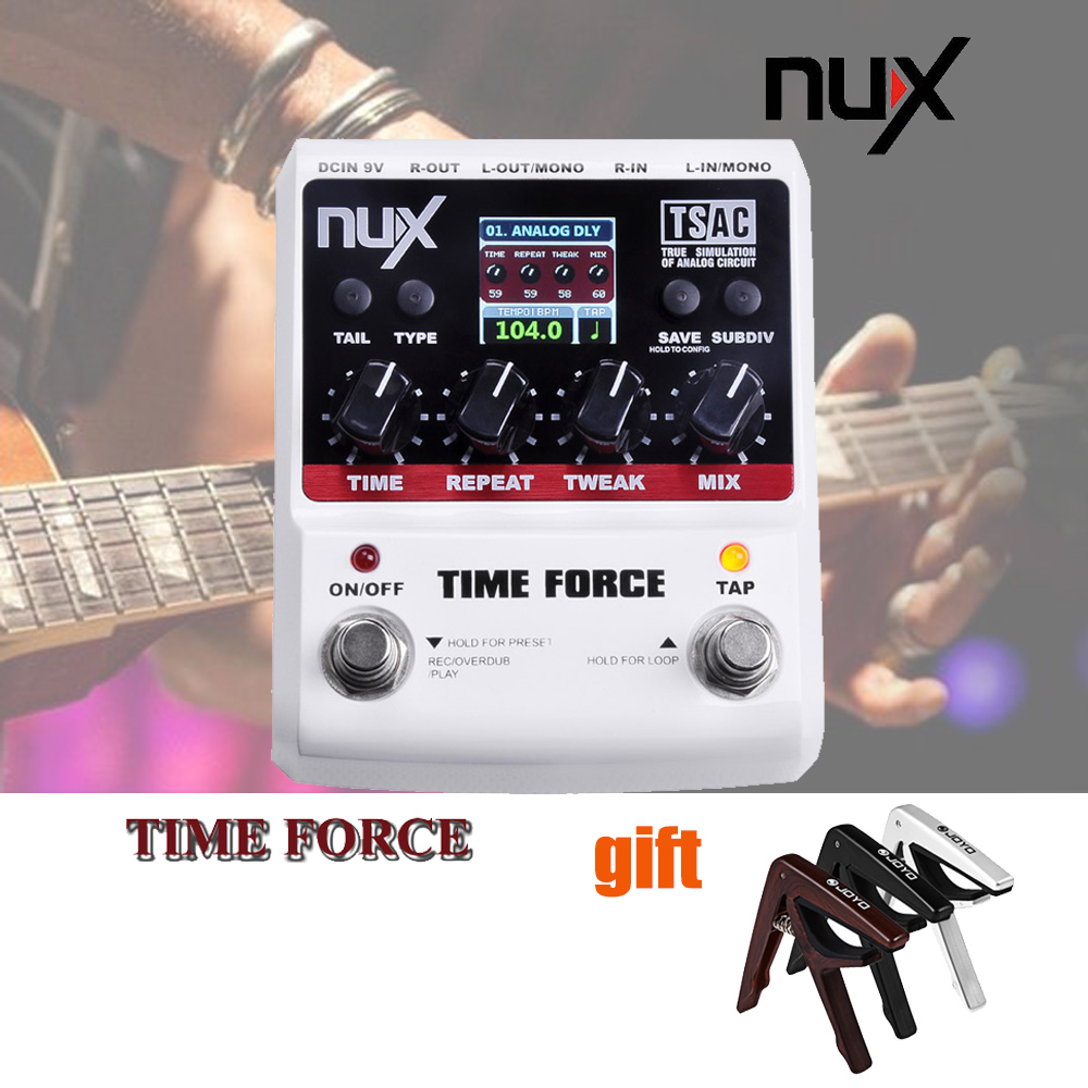 NUX TIME FORCE Guitar Effect Pedal Multi Digital Delay 11 Delay Effects 40 Seconds Loopping Time True Bypass Tail Retain nux 1 8 lcd time force delay guitar effect pedal white black