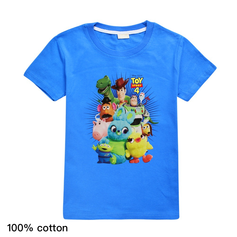 Casual Summer T-shirt Toy Story 4 Forky Woody Buzz Lightyear Summer Tshirt T Shirt Short Sleeve Tops Tees 3-14T Kids Clothes(China)