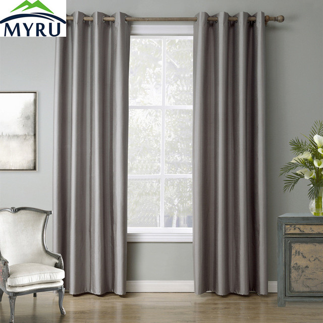 MYRU Light Grey Window Curtains tube curtain for bedroom study ...