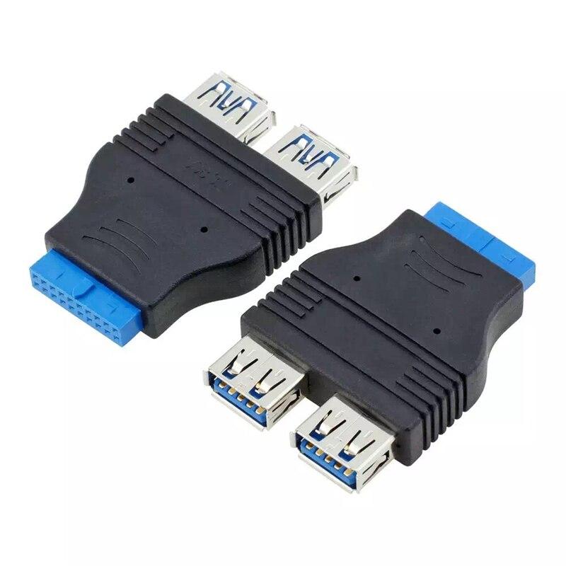 2 Port Usb 3.0 (vrouwelijke) Om 20 Pin Adapter/converter Black Gratis Verzending Aangenaam In De Nasmaak
